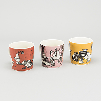 MUGGAR, 3 st, porslin, Moomin Characters, Arabia, Finland. 1990-tal.