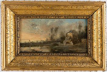 """HOLLÄNDSK SKOLA, 1600-tal, olja på ekpanel, a tergo med äldre etikett signerad """"Canaletto""""."""