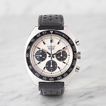"1. HEUER, Autavia, ""Jo Siffert"", chronograph, wristwatch, 42.5 mm,"