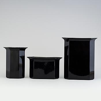 """KARIN BJÖRQUIST, vaser, 3 stycken, """"Flora"""", Gustavsberg 1970-/80-tal."""