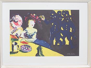 """PETER DAHL, färglitografi, signerad. ur """"Fredmans epistlar""""."""