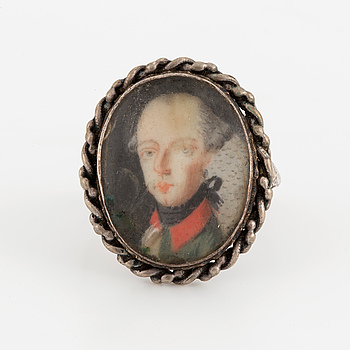 RING med miniatyr, troligen omkring 1800.