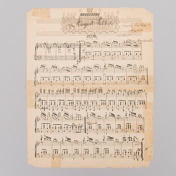 """OSKAR MERIKANTO, käsinkirjoitettu nuottilehti, """"August Polka"""" päivätty 17.7.1884."""