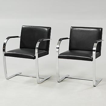 """LUDWIG MIES VAN DER ROHE, ett par stolar, """"Brno Chair"""", Knoll, modell formgiven 1930, tillverkade omkring år 2000."""