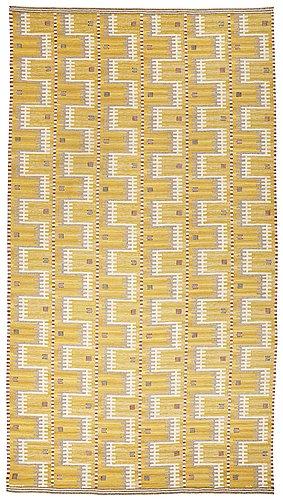 "Marianne richter, a carpet, ""gula havet"", flat weave, ca 527 x 288,5 cm, signed ab mmf mr."