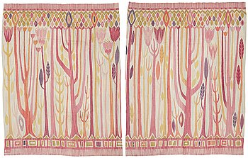 176. KERSTIN EKENGREN, DRAPERIER, 1 par, slätvävda, ca 341,5 x 264 respektive 336,5 x 262,5 cm, ett signerat KE 1953 (Kerstin Ekengren).