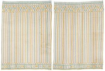 177. KERSTIN EKENGREN, DRAPERIER, 1 par, slätvävda, ca 344 x 254,5 respektive 343,5 x 252 cm, designat av Kerstin Ekengren, 1950-tal.