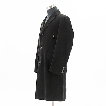BURBERRY, Mens Black Corduroy Overcoat, size 50(UK).