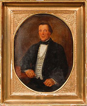 OKÄND KONSTNÄR, olja på duk, daterad 1860.