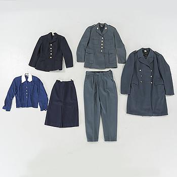 UNIFORMER, sex delar, M/60 samt flyglotta, 1900-talets andra hälft.