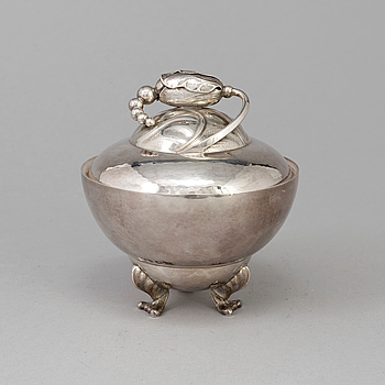 GEORG JENSEN, A Georg Jensen sugar box, sterling , Copenhagen 1945-51,