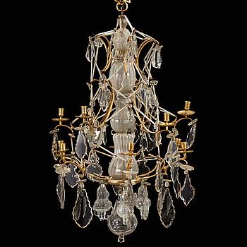 A Swedish Rococo 18th century twelve-light chandelier.