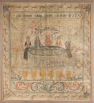 DALMÅLNING, Allmoge. Av Winter Carl Hansson, Yttermo, Leksand. Daterad 1793.