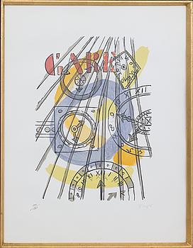 "FERNAND LÉGER, FERNAND LÉGER, colour lithographe, stamp signed, numbered 111/180 from ""La Ville"" 1959, Teriade Editeur, Paris."