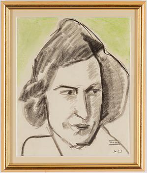 "JOHN JON-AND, JOHN JON-AND, ""Kvinna XIV"",  chalk drawing, signed with stamp."