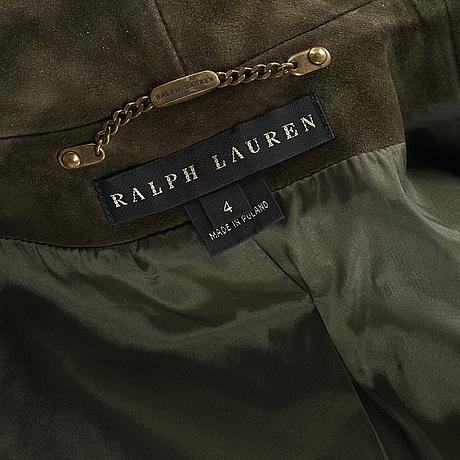 A dark green suede jacket by ralph lauren