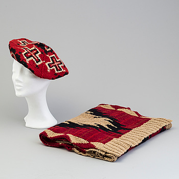 A hand knit scarf and a hut by Ralph Lauren.