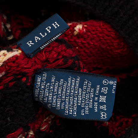 A hand knit scarf and a hut by ralph lauren