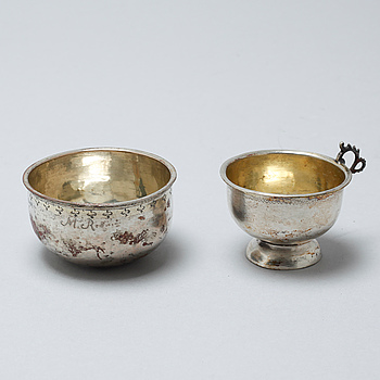 Two silver cups, partly by Erik Ernander, Uppsala, 1796.