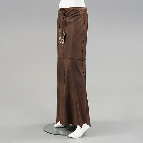 A indianinspirered leather skirt by ralph lauren