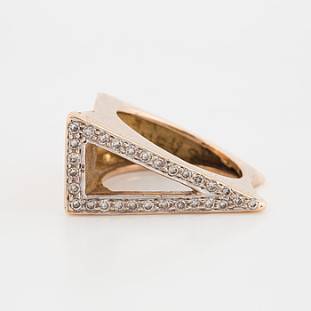 A ring set with eight-cut diamonds.