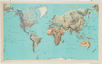 A second half fo the 20th Century school map of the world.