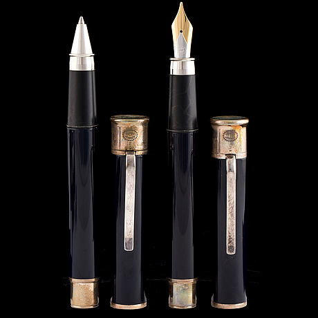 Two pens by bo bonfils for georg jensen, silver and gold,
