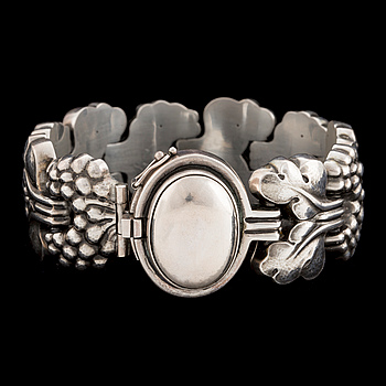 A silver bracelet by Georg Jensen, designed in the 1920's with stamp for after 1945.