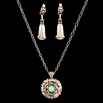 GEORG JENSEN, pendant and pair of earrings, sterling silver, late 20th century.