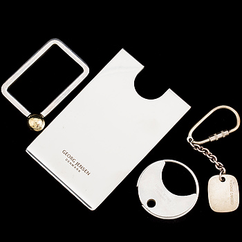 Three key ring and a credit card holder by GEORG JENSEN, late 20th century.