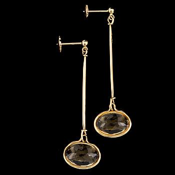A pair of 'Savannah' earrings set with faceted citrines by Vivianna Torun Bülow Hübe for Georg Jensen, designed 2006.