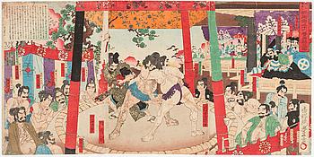 """UTAGAWA TOYONOBU (1859-1896), triptyk, färgträsnitt. Japan, 1884, """"Sumospel för Hideyoshi""""."""