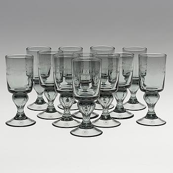 "A set of 12 ""Antik"" wine glasses by Reimyre."