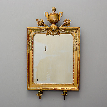 A Gustavian two-light girandole mirror, end of 18th century.