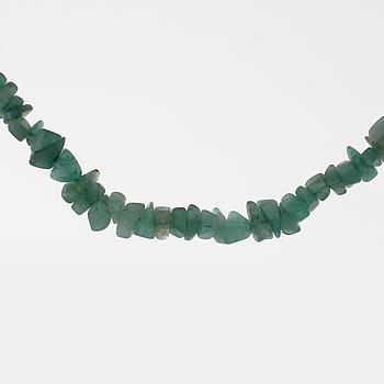 A aventurine quartz necklace.
