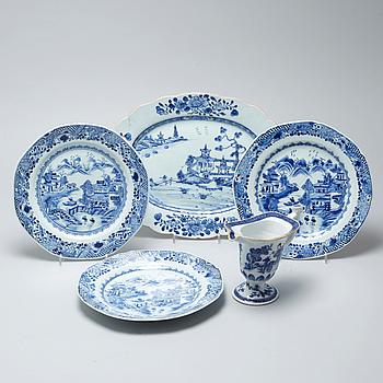 PARTI PORSLIN, 5 delar, Kina, 1700-tal.