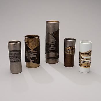 TOINI MUONA, VASER, 5 st, keramik, signerade signerade i godset TM eller TM ARABIA.