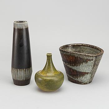 CARL-HARRY STÅLHANE, vaser, 3 st, stengods, Rörstrand.