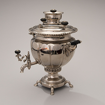 A nickeled samovar from Tula, Russia, late 1800s.