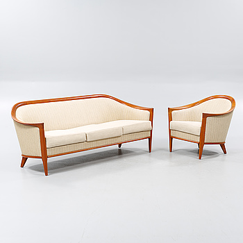 """A sofa and an armchair designed by Bröderna Andersson, named """"Fabiola""""."""