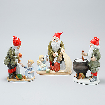 Three earthenware figurines after Jenny Nyström, late 20th century.