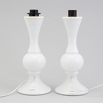 BORDSLAMPOR, ett par, glas, Luxus, 1960-tal.