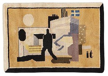 "188. Ingegerd Torhamn, A CARPET AND A SKETCH, ""Svensk-Amerika"", knotted pile, gouache, the carpet ca 109 x 156 cm, the sketch ca 20x26 cm,"