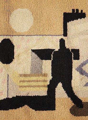 "Ingegerd torhamn, a carpet and a sketch, ""svensk-amerika"", knotted pile, gouache, the carpet ca 109 x 156 cm, the sketch ca 20x26 cm,"