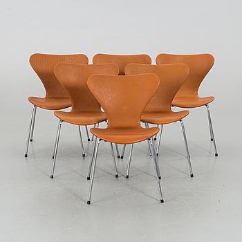 """STOLAR 6 st, Arne Jacobsen, """"Sjuan"""", Fritz Hansen, Danmark,"""