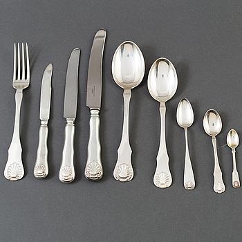 BESTICKSERVISDELAR 93 st, silver, Norge, omkring 1900-talets mitt. Total silvervikt 2452 gram.