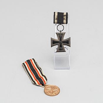 MEDALJER 2 st Järnkorset (Wilhelminska Kejsardömet, Tyskland 1914-18) och Furg Dagerland 1914.