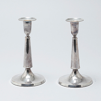 A pair of silver candlesticks by Ceson, Gothenburg, 1988.