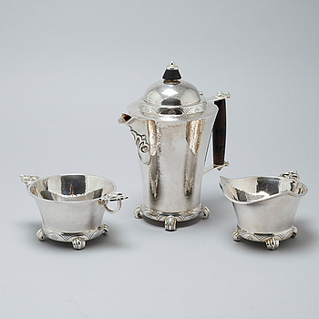 A silver three pcs coffeeset by N.M Thune, Norway, mid 20th century.