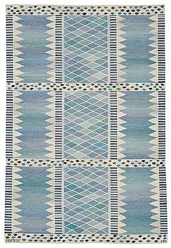 """183. Marianne Richter, A CARPET, """"Josefina, lättblå"""", flat weave, ca 196,5 x 132,5 cm, signed AB MMF MR."""